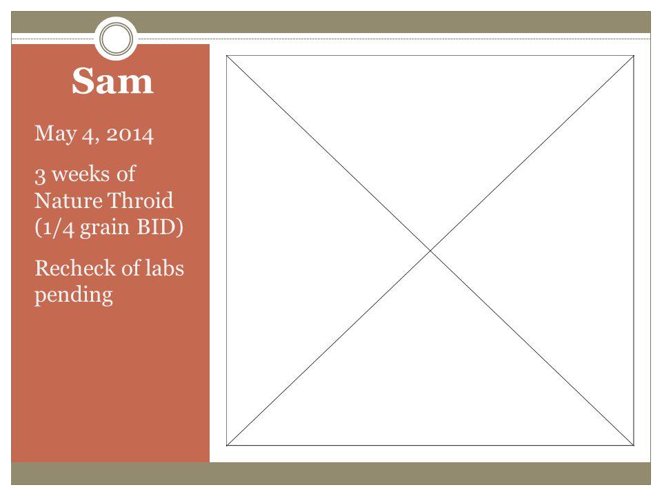 Sam May 4, 2014 3 weeks of Nature Throid (1/4 grain BID)