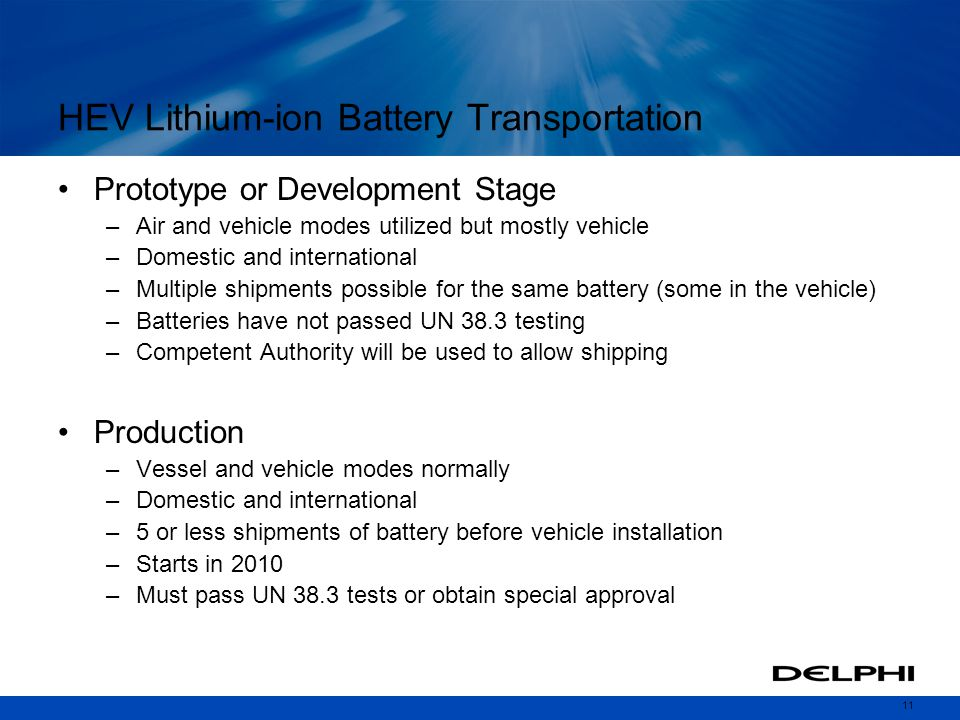 HEV Lithium-ion Battery Transportation