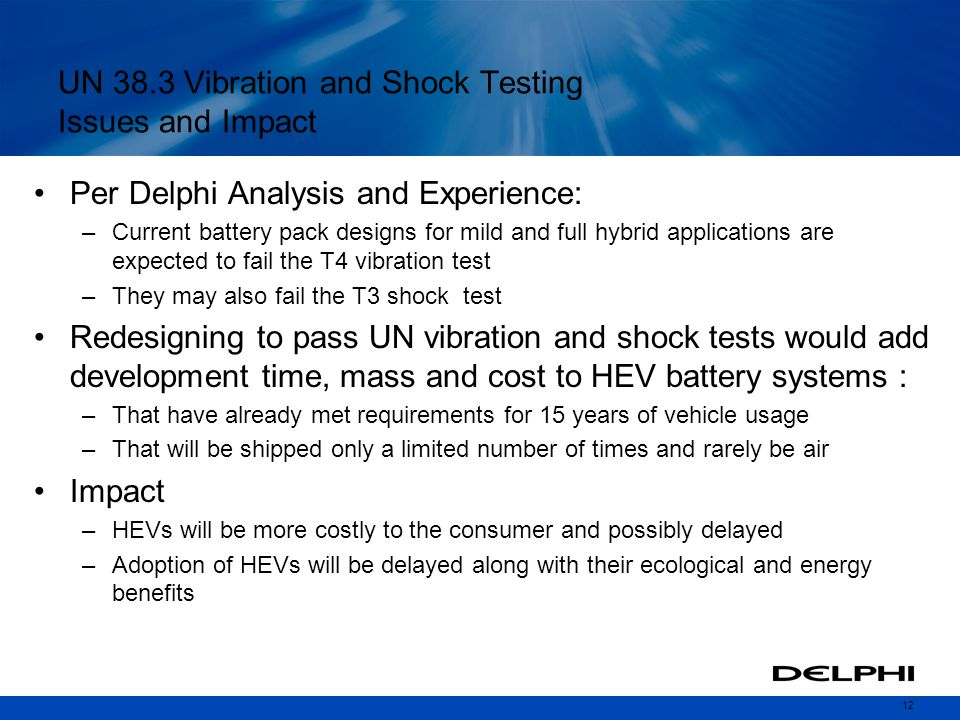 UN 38.3 Vibration and Shock Testing Issues and Impact