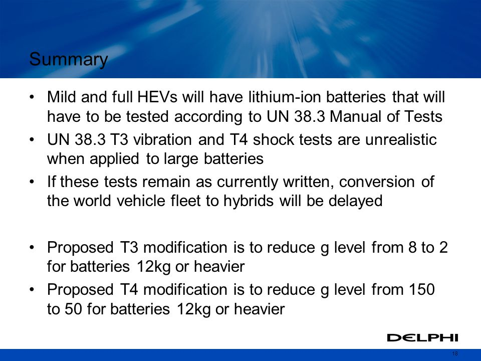 Summary Mild and full HEVs will have lithium-ion batteries that will have to be tested according to UN 38.3 Manual of Tests.