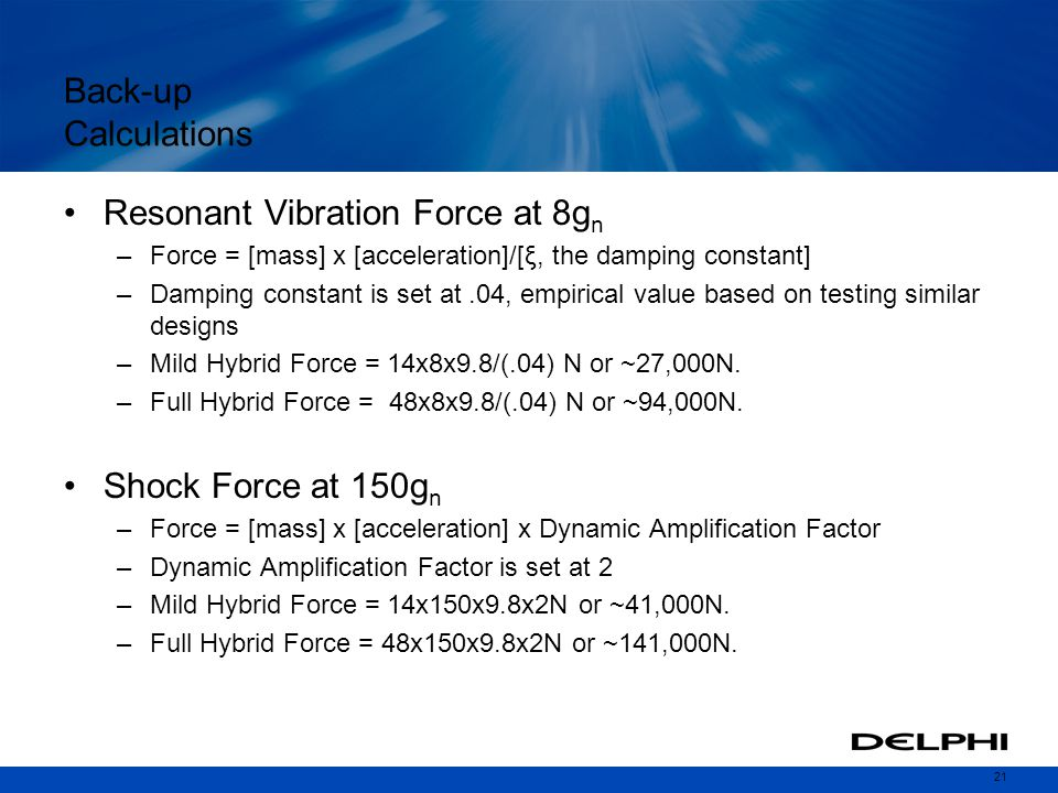 Resonant Vibration Force at 8gn