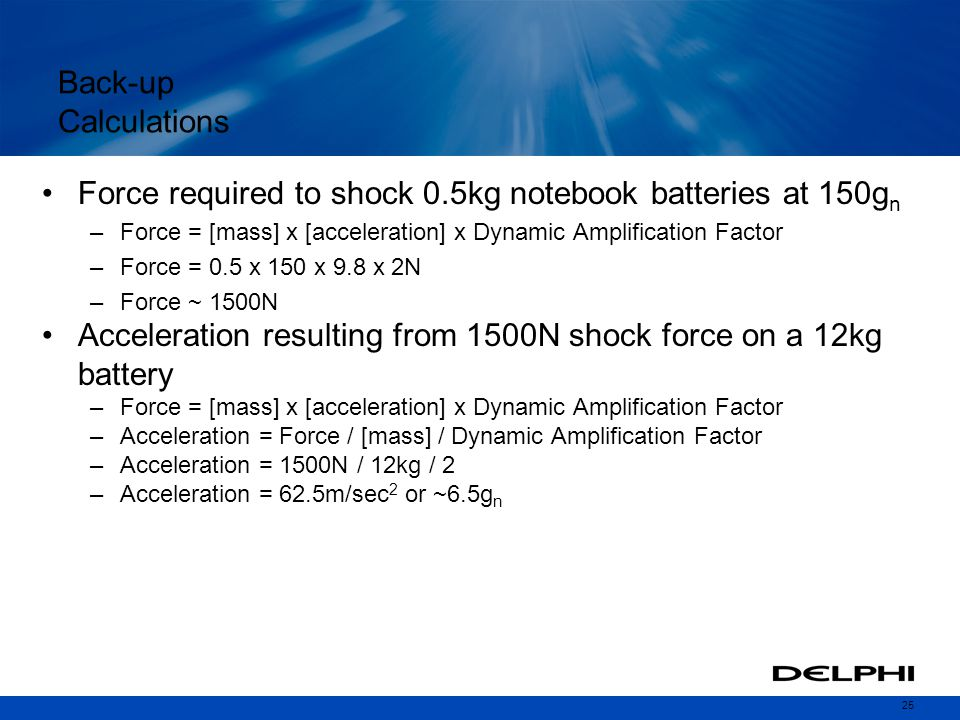 Force required to shock 0.5kg notebook batteries at 150gn