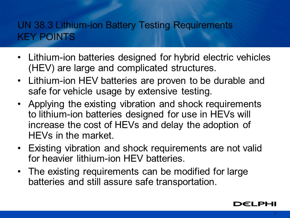 UN 38.3 Lithium-ion Battery Testing Requirements KEY POINTS