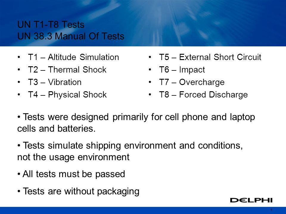 UN T1-T8 Tests UN 38.3 Manual Of Tests