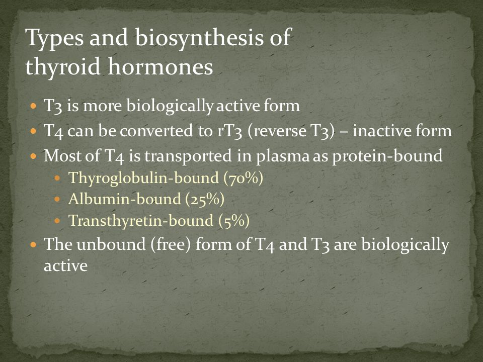 Types and biosynthesis of thyroid hormones