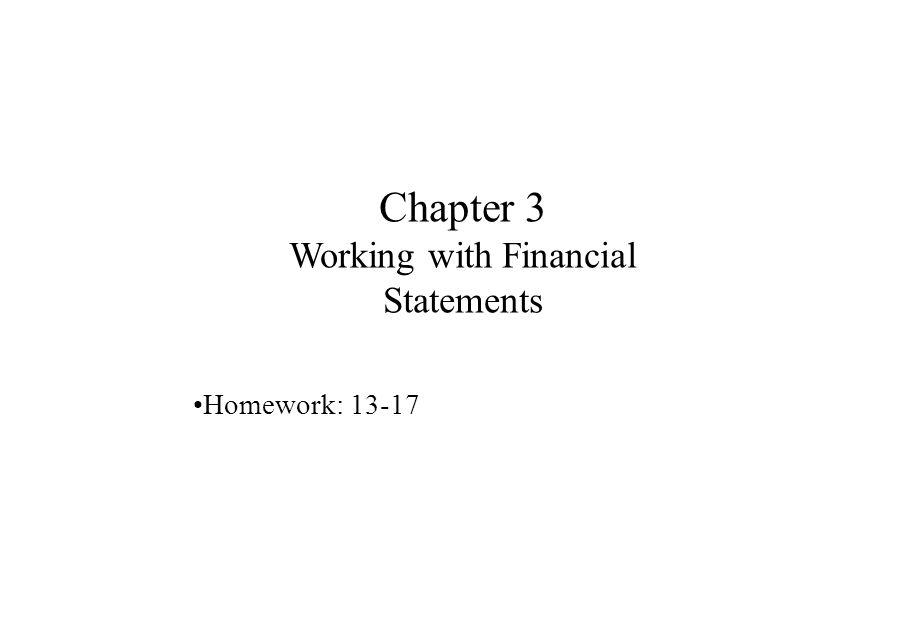 Chapter 3 Working with Financial Statements
