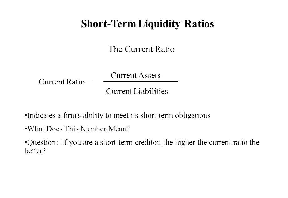 Short-Term Liquidity Ratios