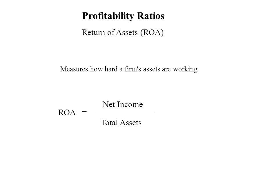 Profitability Ratios Return of Assets (ROA) Net Income ROA =
