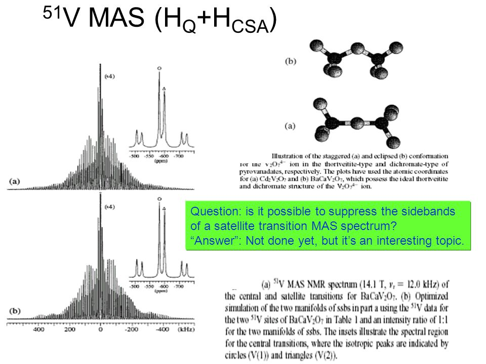 51V MAS (HQ+HCSA) Question: is it possible to suppress the sidebands