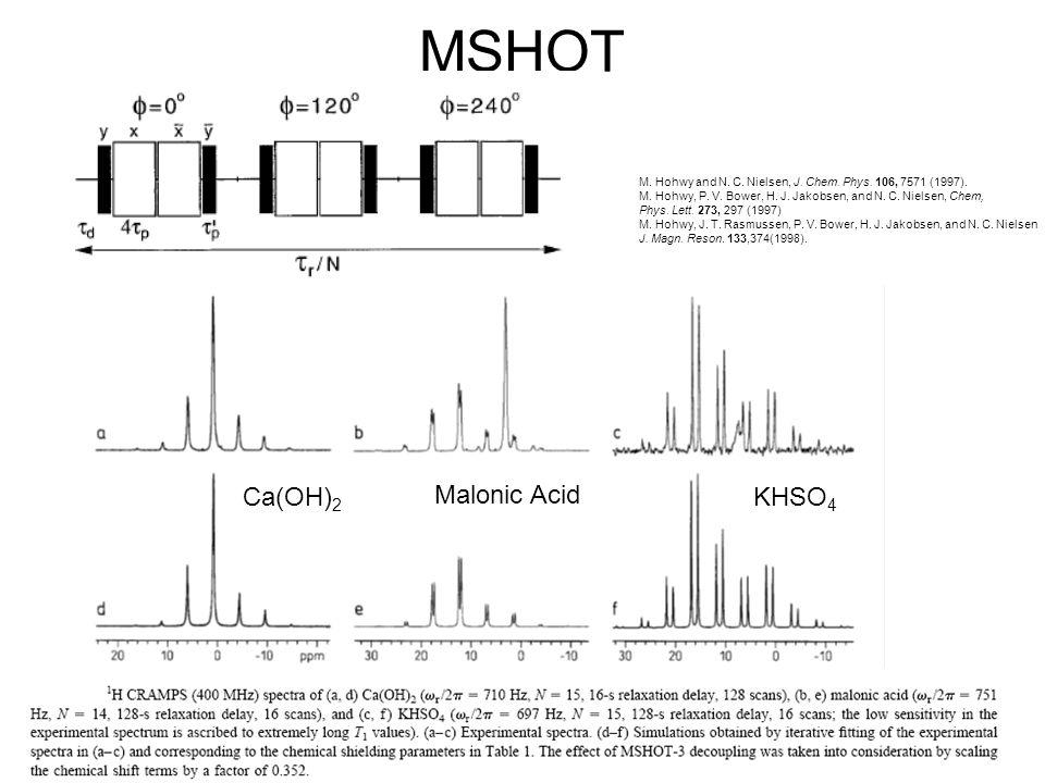 MSHOT Ca(OH)2 Malonic Acid KHSO4