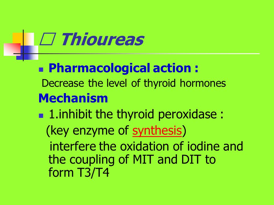 Ⅰ Thioureas Pharmacological action : Mechanism
