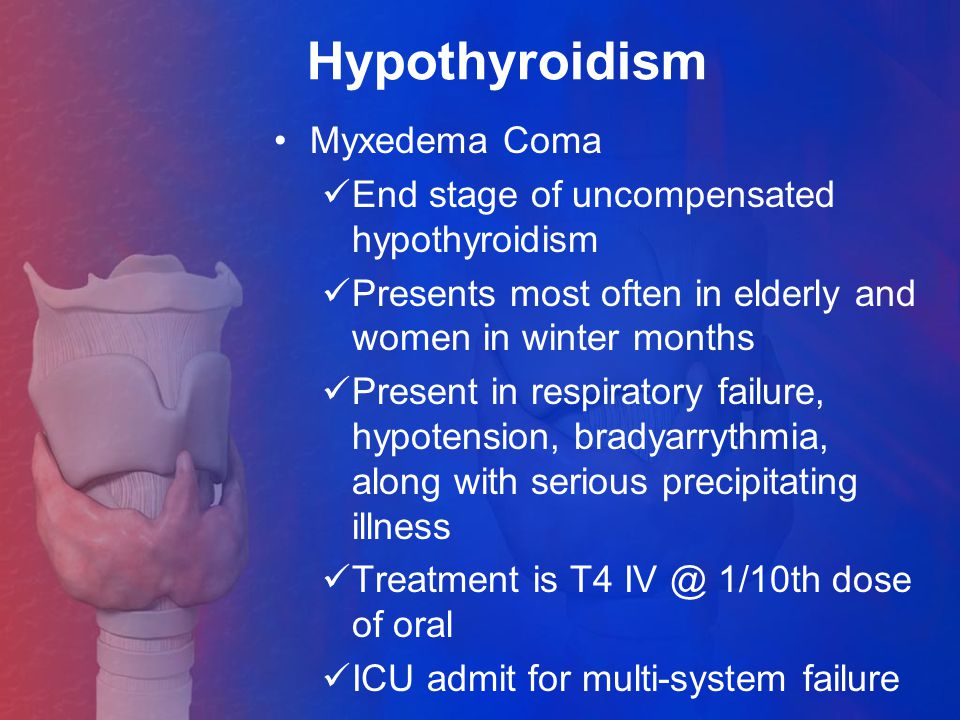 Hypothyroidism Myxedema Coma End stage of uncompensated hypothyroidism
