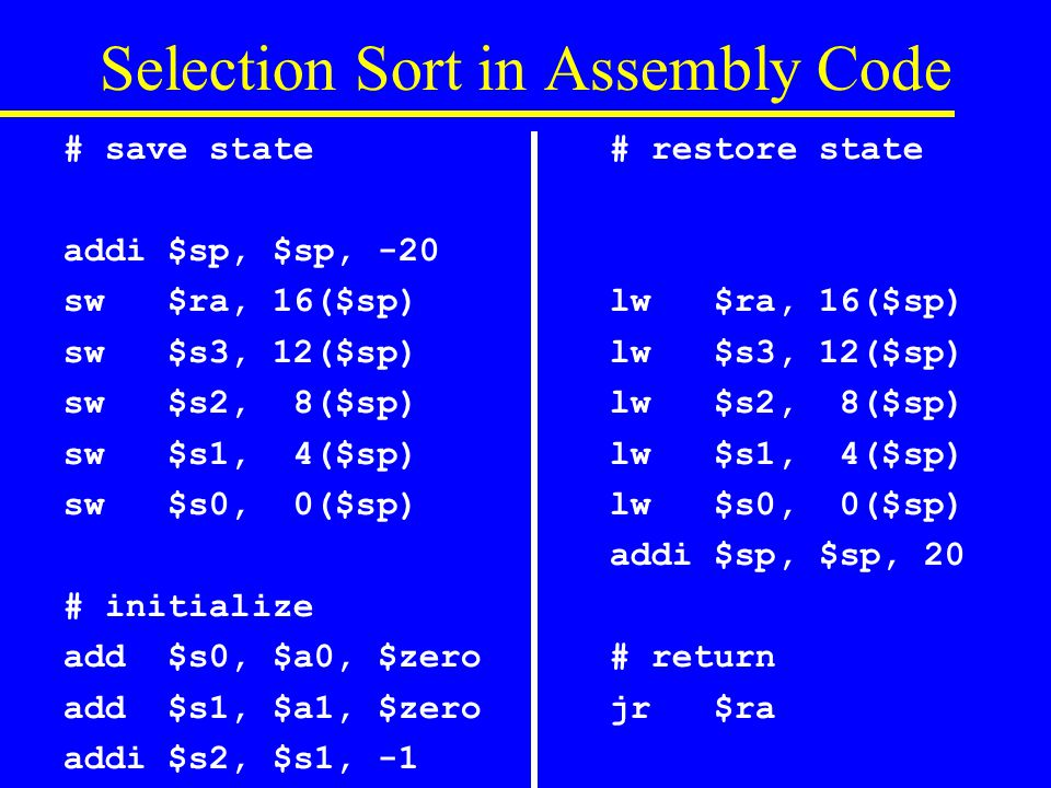 Selection Sort in Assembly Code