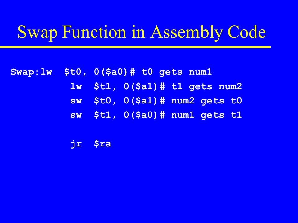 Swap Function in Assembly Code