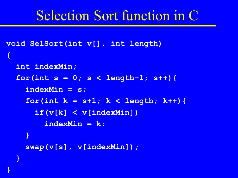 Selection Sort function in C