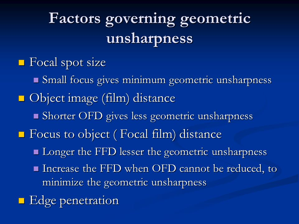 Factors governing geometric unsharpness