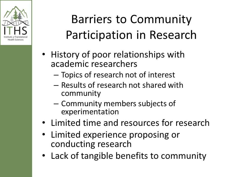 Barriers to Community Participation in Research