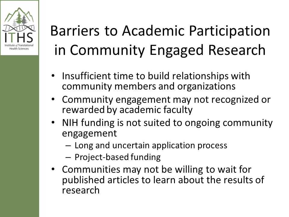 Barriers to Academic Participation in Community Engaged Research