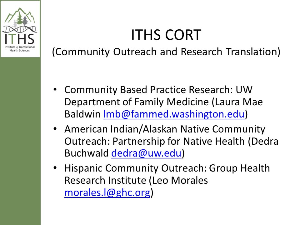 ITHS CORT (Community Outreach and Research Translation)