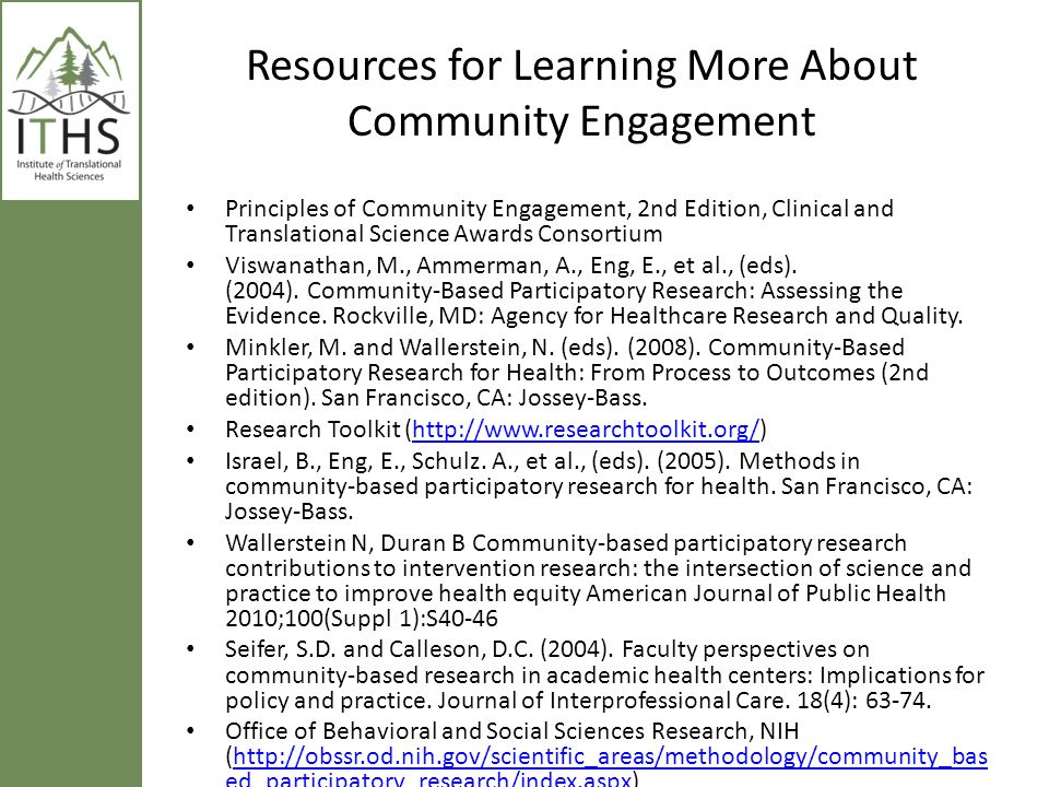 Resources for Learning More About Community Engagement
