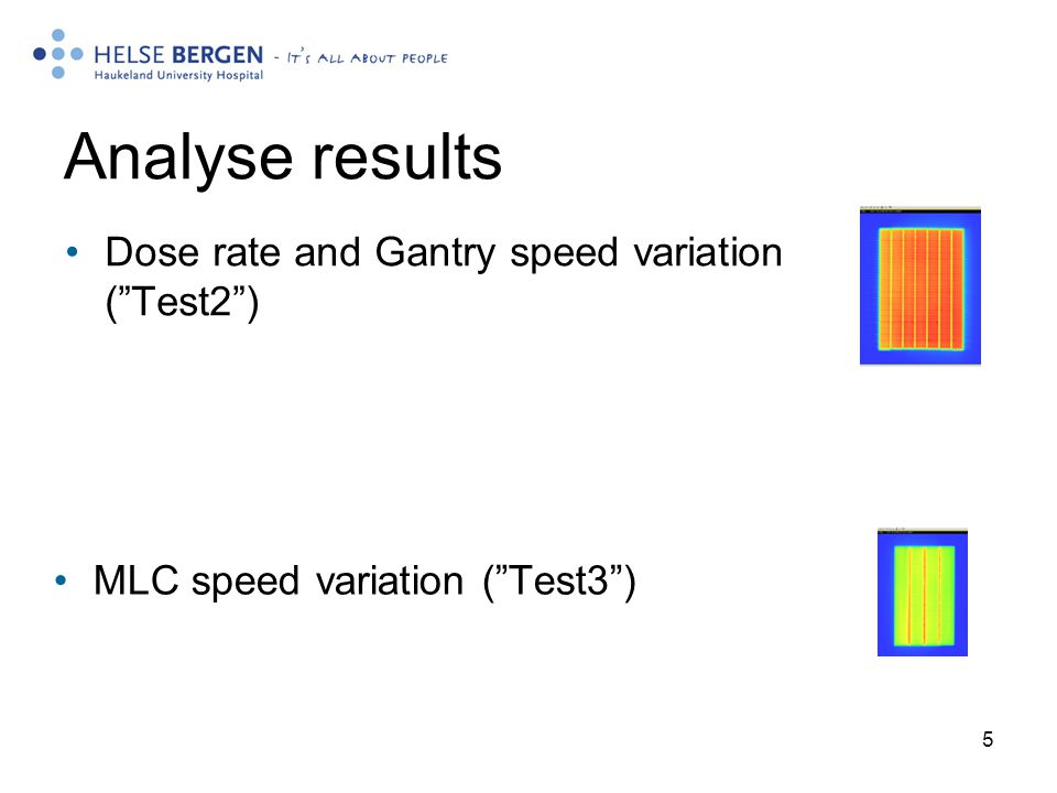 Analyse results Dose rate and Gantry speed variation ( Test2 )