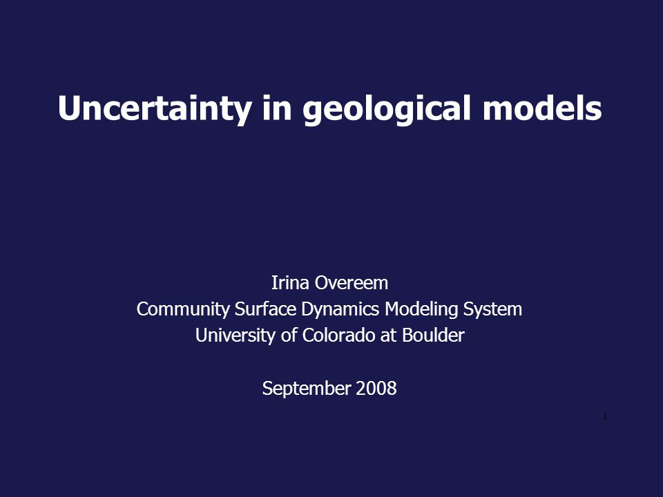 Uncertainty in geological models