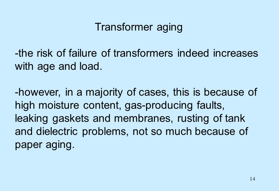 Transformer aging -the risk of failure of transformers indeed increases with age and load.
