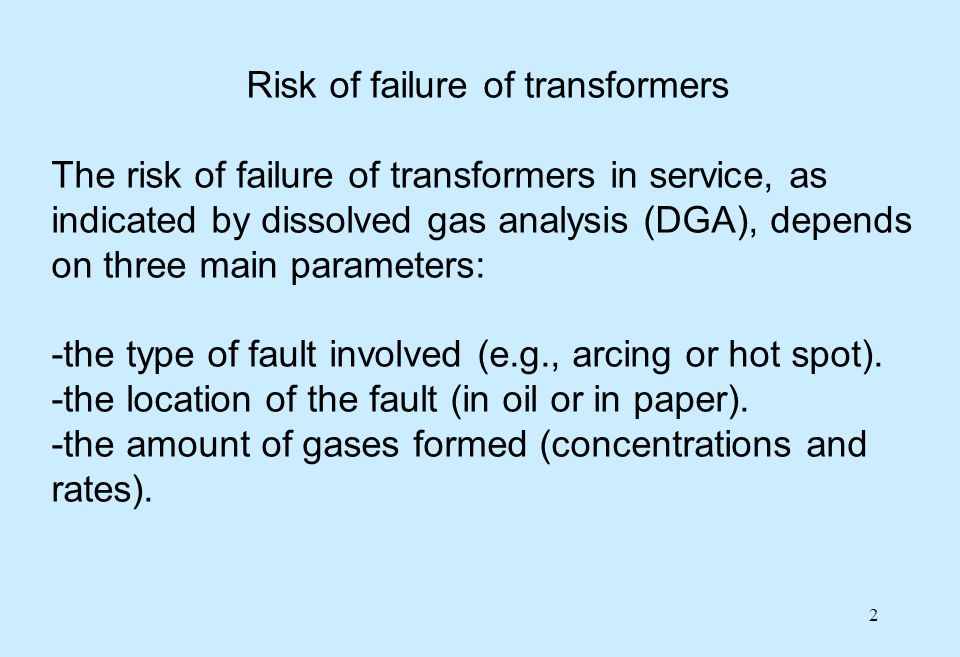 Risk of failure of transformers