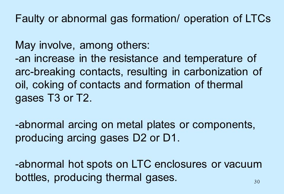Faulty or abnormal gas formation/ operation of LTCs