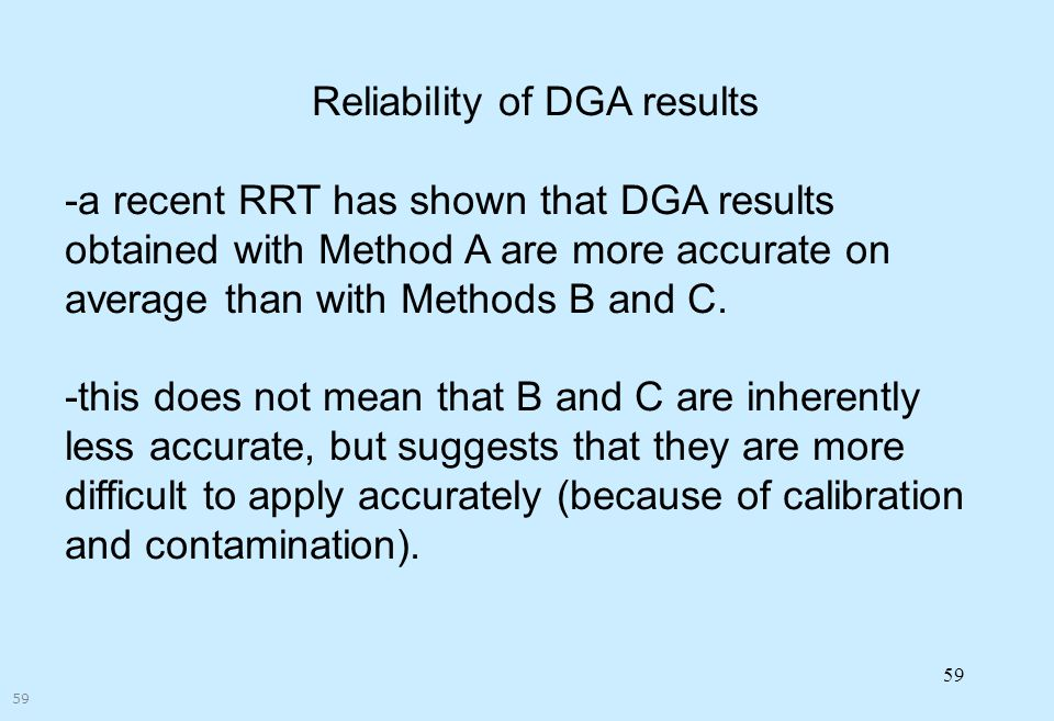 Reliability of DGA results