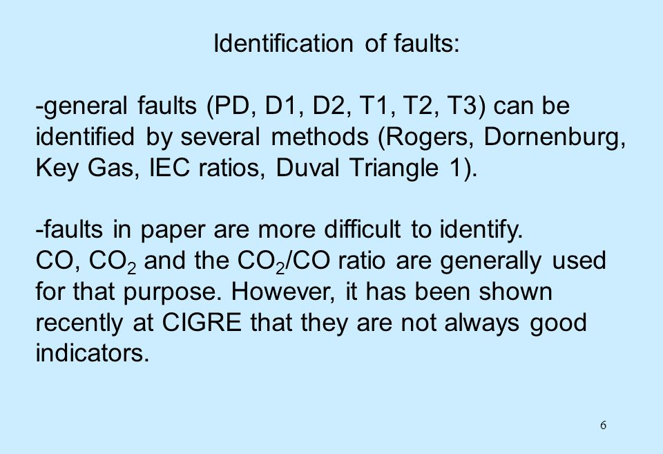 Identification of faults: