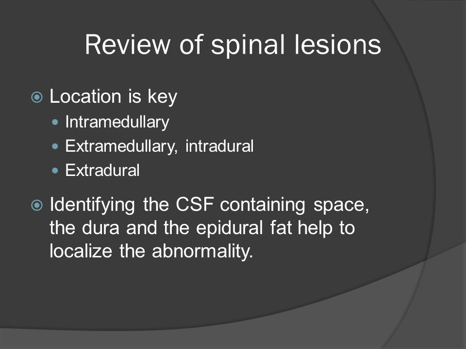 Review of spinal lesions