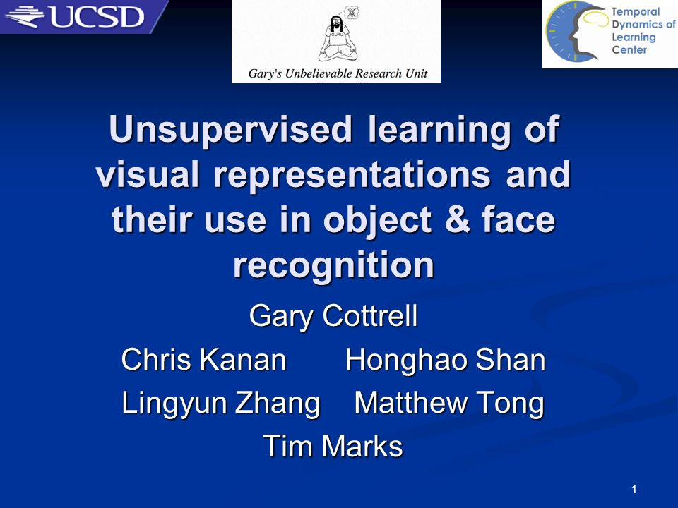 3/22/2017 Unsupervised learning of visual representations and their use in object & face recognition.