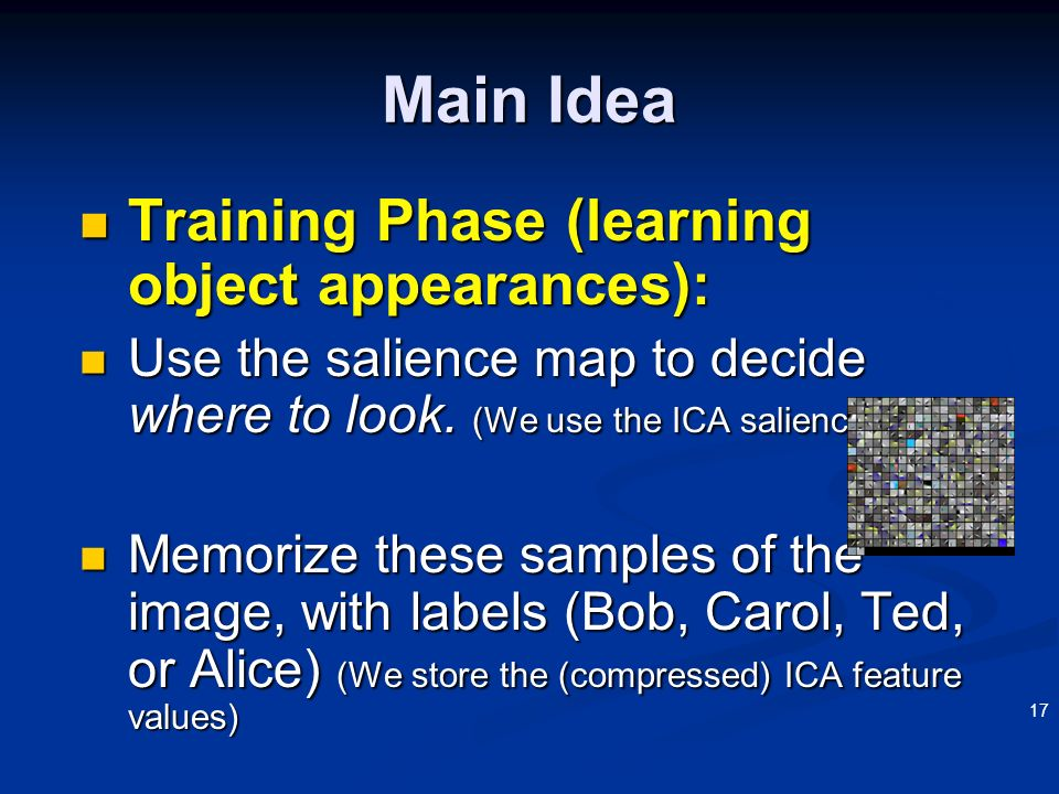 Main Idea Training Phase (learning object appearances):