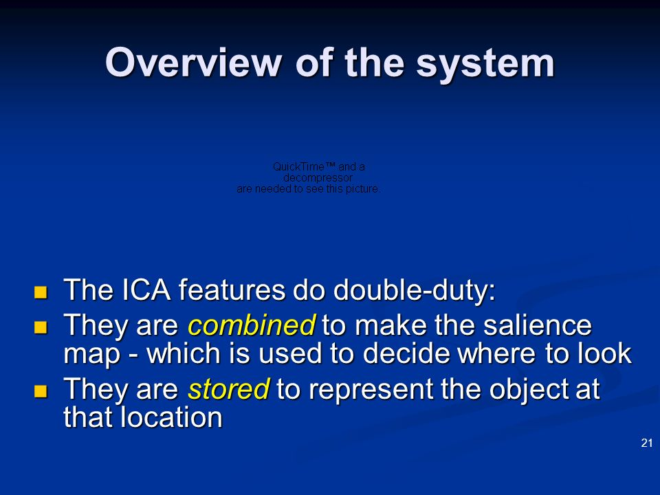 Overview of the system The ICA features do double-duty: