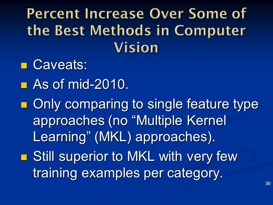 Still superior to MKL with very few training examples per category.