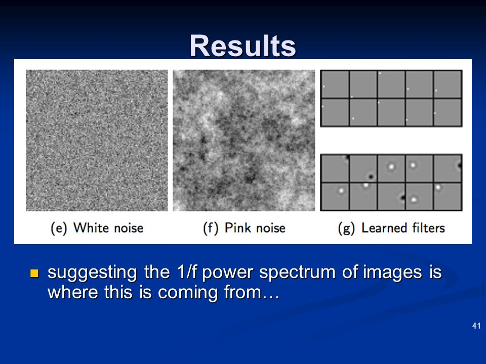3/22/2017 Results suggesting the 1/f power spectrum of images is where this is coming from… OSHER