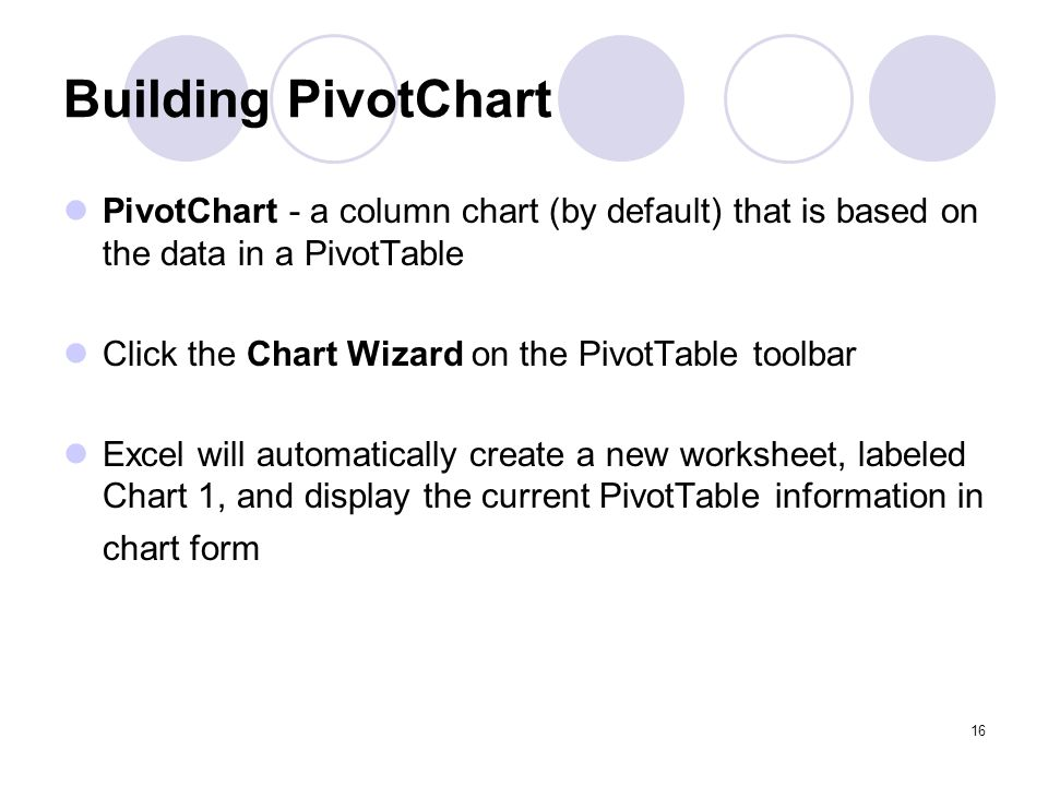 Building PivotChart PivotChart - a column chart (by default) that is based on the data in a PivotTable.