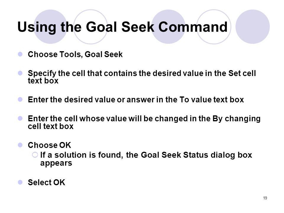Using the Goal Seek Command