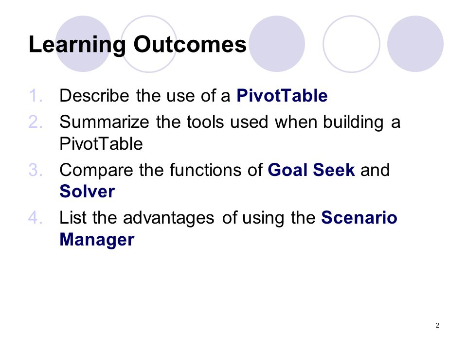 Learning Outcomes Describe the use of a PivotTable