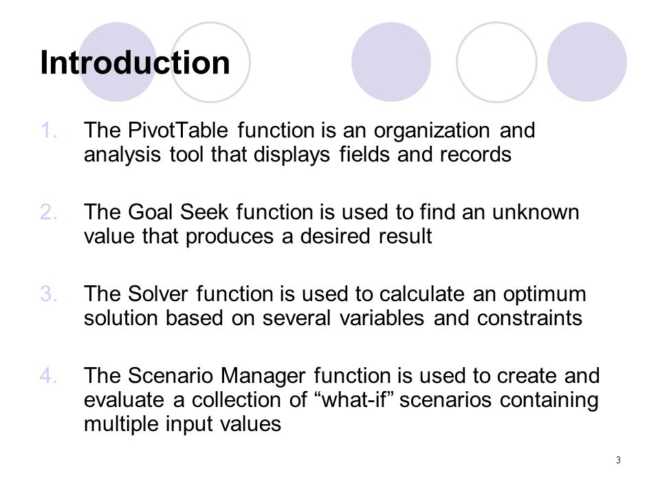 Introduction The PivotTable function is an organization and analysis tool that displays fields and records.