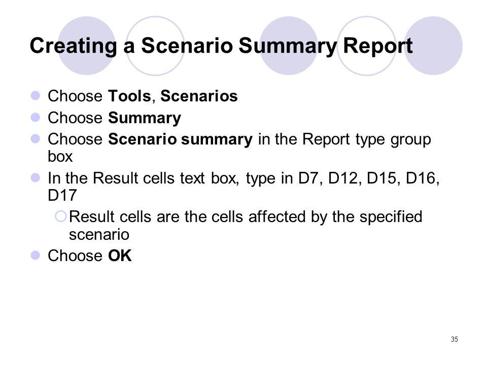 Creating a Scenario Summary Report