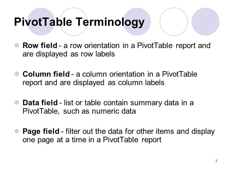 PivotTable Terminology