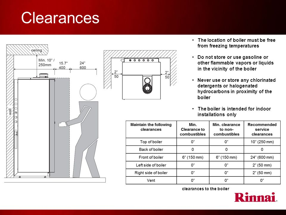 Clearances The location of boiler must be free from freezing temperatures.