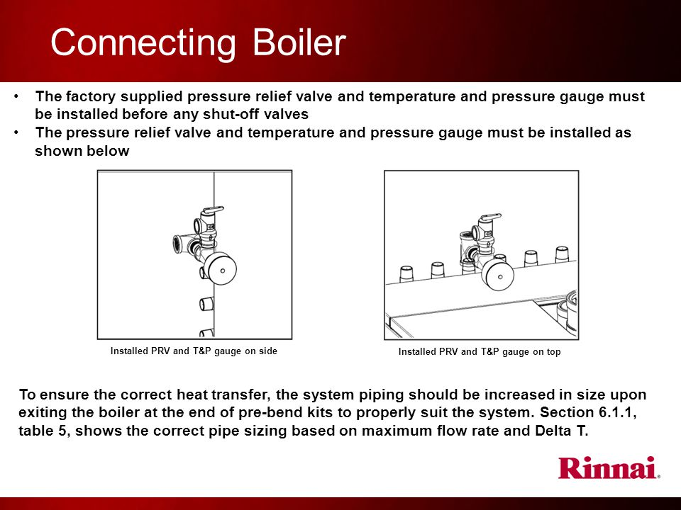 Connecting Boiler The factory supplied pressure relief valve and temperature and pressure gauge must be installed before any shut-off valves.