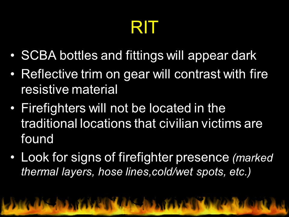 RIT SCBA bottles and fittings will appear dark