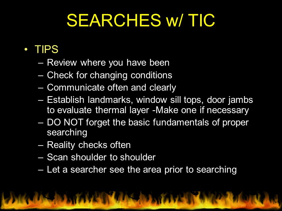 SEARCHES w/ TIC TIPS Review where you have been