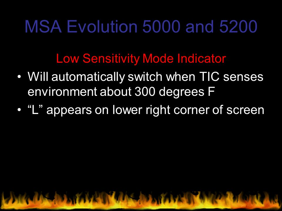 Low Sensitivity Mode Indicator