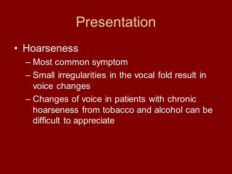 Presentation Hoarseness Most common symptom