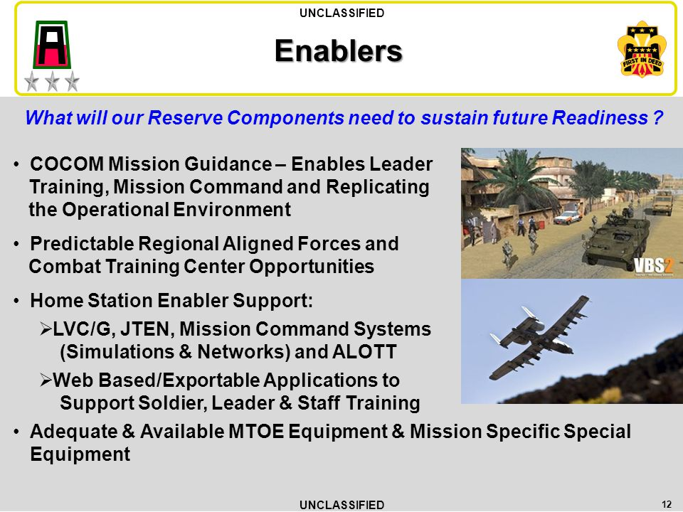 Enablers What will our Reserve Components need to sustain future Readiness COCOM Mission Guidance – Enables Leader.